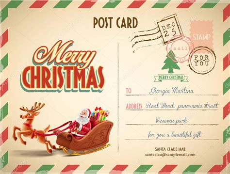 christmas postcards template kids modelo de cart 227 o postal de natal vetores de stock