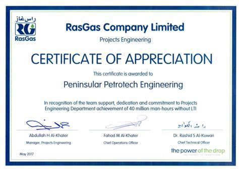 certificates peninsular petrotech engineering wll