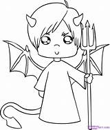 Devil Coloring Pages Halloween Cute Printables sketch template
