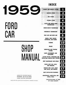 Ford Cars  Station Wagon  Ranchero Shop Manual 1959