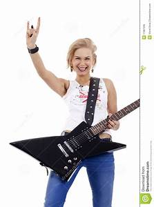 Rock Star Woman Gesturing Rock Sign Royalty Free Stock ...