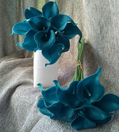stems teal calla lilies bouquet flowers real touch teal