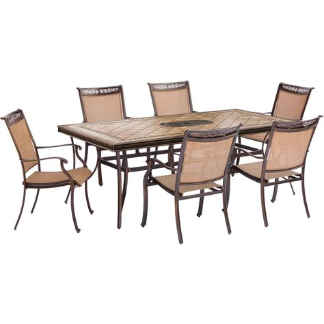 fontana 7 dining set with six stationary dining