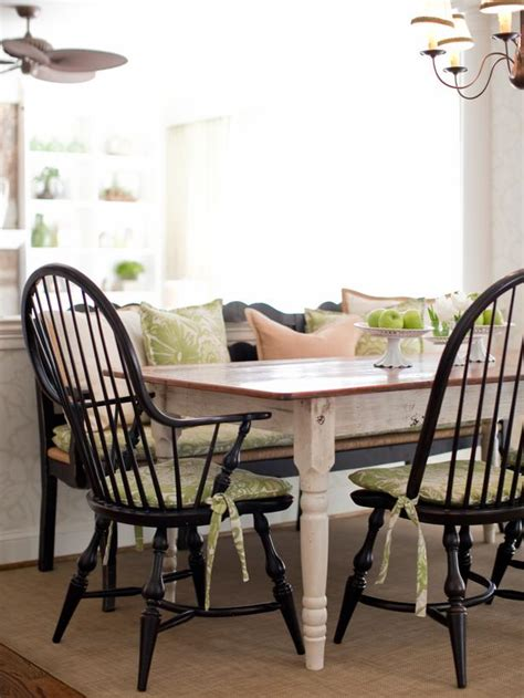 black chairs around country dining table hgtv