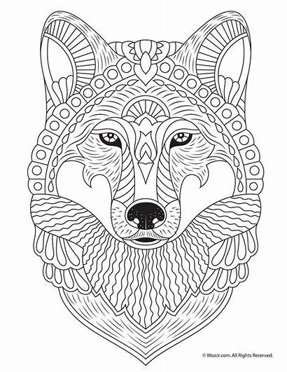 Coloring Wolf Adult Pages Cool Adults Mandala