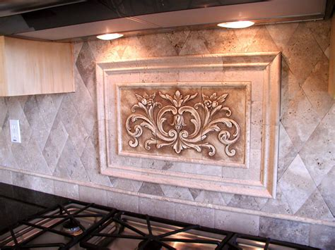 Decorative Backsplash Panels : Hand Pressed Floral Tiles Installed In Kitchen Backsplash