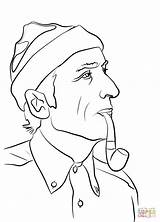Coloring Jacques Cousteau Pages Famous Drawing Printable sketch template