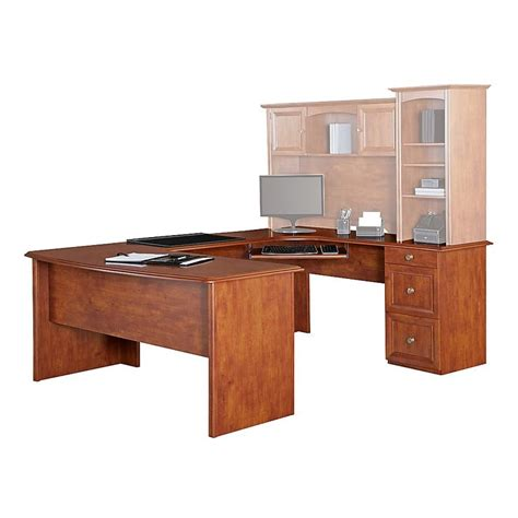 """Realspace Broadstreet Contoured Ushaped Desk, 30""""h X 65""""w. Drawer Glides. Small Drawer Dividers. Herman Miller Aeron Desk Chair. Wood School Desk. Antique Writing Desk Leather Top. Little Tikes Drawing Desk. White Conference Table. Personalized Desk Calendars With Names"""