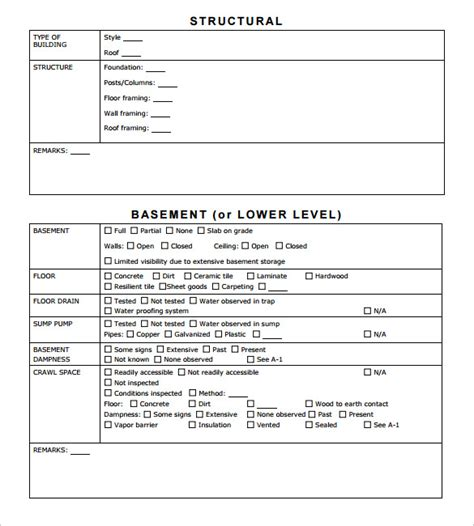 sample home inspection report template