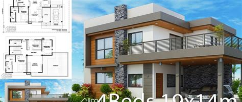 Home design plan 19x14m with 4 bedrooms Home Plans in