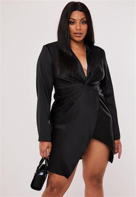 Plus Size Black Satin Twist Front Blazer Dress | Missguided