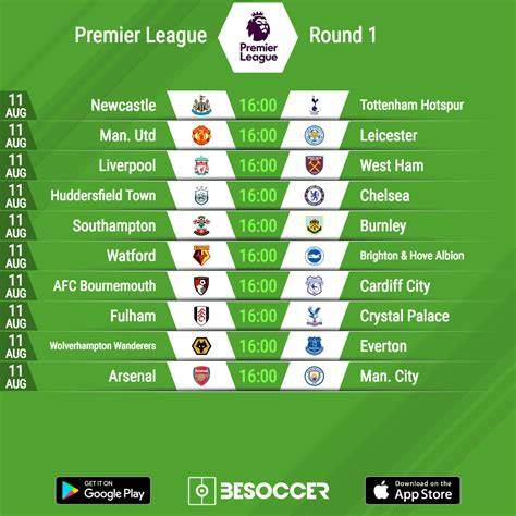 Premier league 2020/2021 fixtures let you see all upcoming matches in premier league 2020/2021 and see available odds offered by bookmakers for all future register for free. Premier League Fixtures : Premier League 2018-19 Fixtures ...