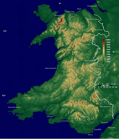 Wales Srtm Cambria Wikimedia Welsh Kart Commons