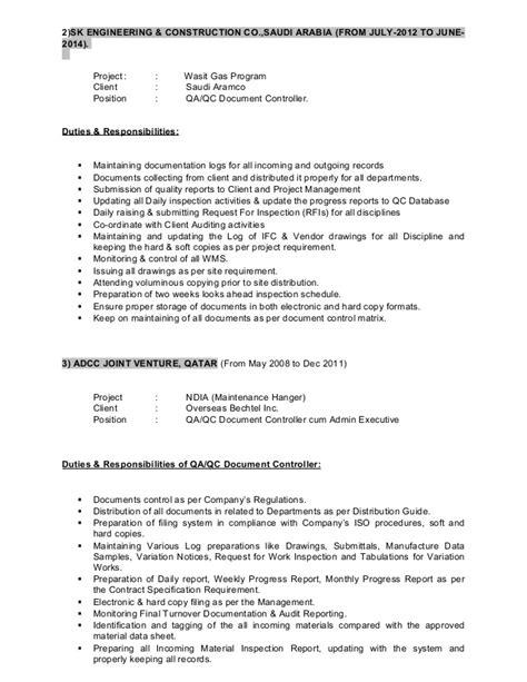 Document Controller Resume For Construction by Cv Of Qa Qc Senior Document Controller Admin Executive