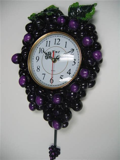 3d grape pendulum wall clock kitchen wine vineyard toscan fruit bar home decor