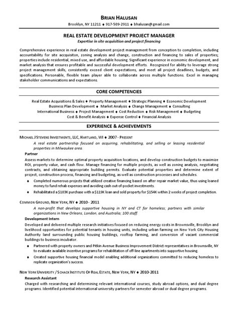 Real Estate Resume Nyc by Real Estate Development Project Manager In Nyc Resume