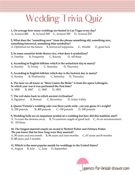 Bridal Shower Trivia - free printable wedding trivia quiz