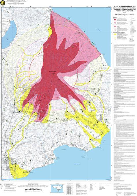 bali volcano map latest maps   flee mount agung