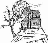 Haunted Coloring Mansion Pages Drawing Printable Spooky Houses Simple 3d Castle Cartoon Hill Mansions Line Halloween Easy Sketch Disney Print sketch template