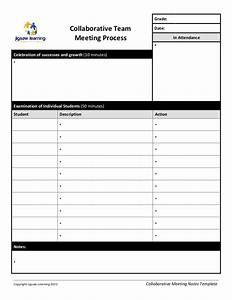Notes Of Meeting Template Collaborative Team Meeting Record Template