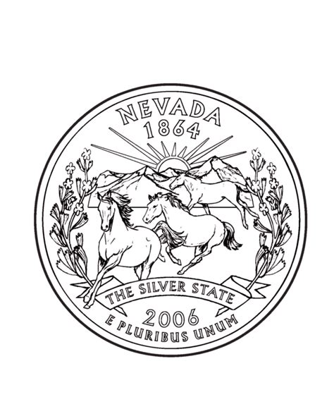 nevada state quarter coloring page usa state quarters