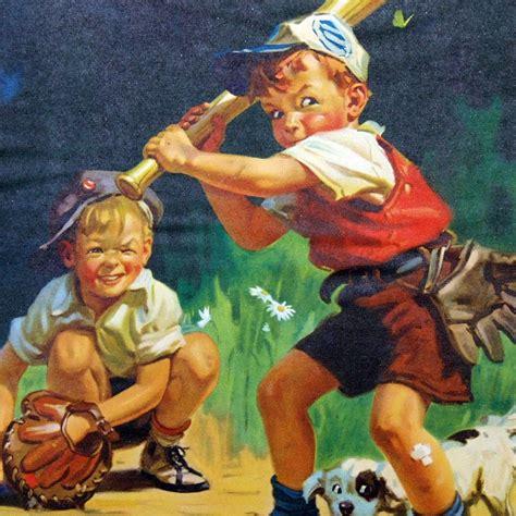 Summer Sale 1943 Calendar Boys Playing Baseball Artist Hy