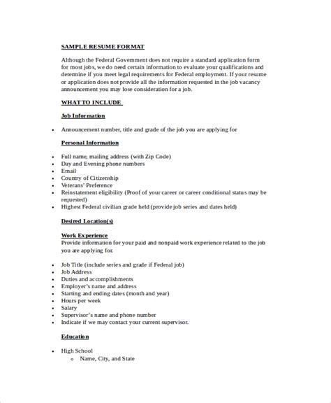 Simple Resume Format In Word by Simple Resume Format 9 Exles In Word Pdf