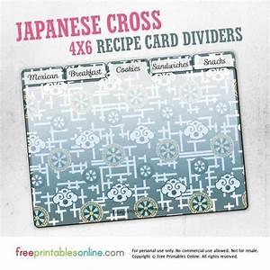 Free Printable Blank Recipe Pages Japanese Cross Printable 4x6 Recipe Card Dividers