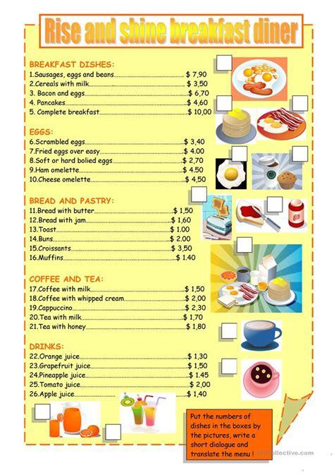 breakfast menu worksheet  esl printable worksheets