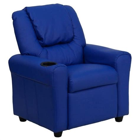 flash furniture faux leather recliner in blue