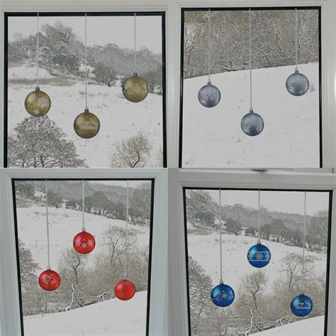 Bauble Window Stickers Clings Reusable Christmas