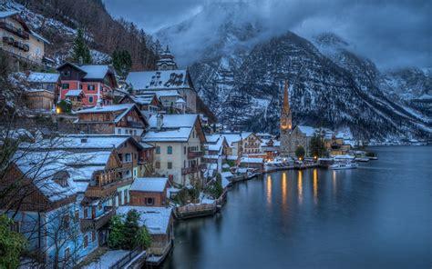 city mountain mist sea overcast snow winter austria