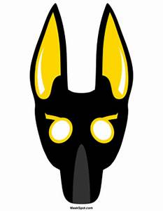 Anubis mask templates including a coloring page version of for Anubis mask template