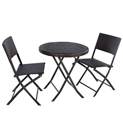 giantex 3pc folding table chair bistro set rattan