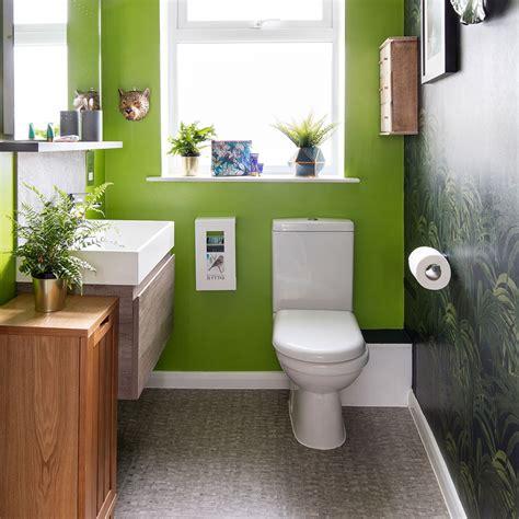 green  grey bathroom makeover  lush foliage