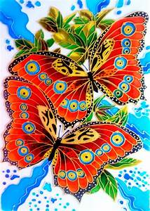 Glass, Painting, Of, Butterfly, U2013, Creative, Art