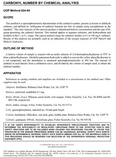 ASTM UOP624-14 - Carbonyl Number by Chemical Analysis