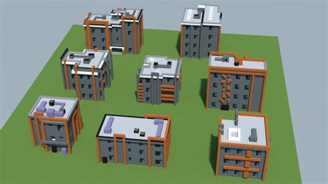 urban modernist small apartment house pack  objects minecraft project