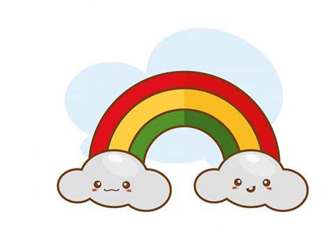 nuvole sveglie e progettazione dell illustrazione di vettore disegno dell arcobaleno