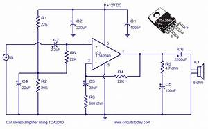 Car Stereo Amplifier Circuit Using Tda2040 Circuit Diagram
