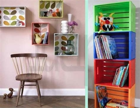 libreria con cassette di legno 5 librerie con materiale di riciclo eticamente net