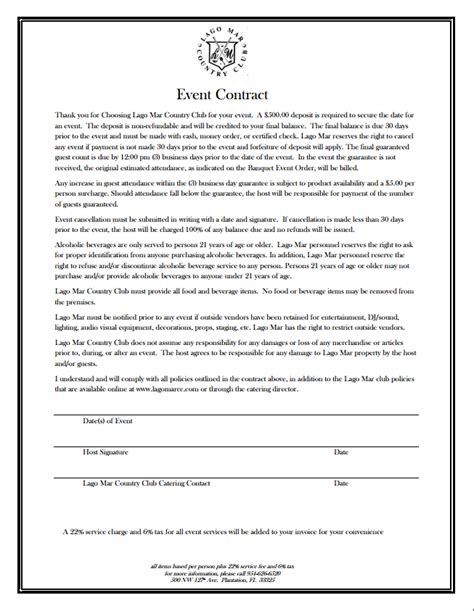event contract template event planner contract