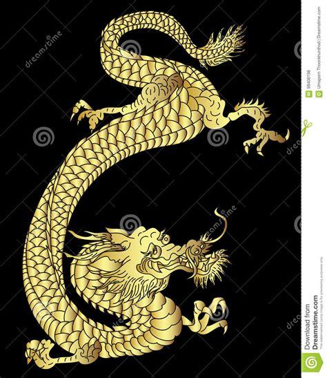 hand drawn gold dragon japanese tattoo style  black background stock vector illustration