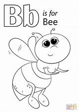 Coloring Letter Bee Pages Print sketch template