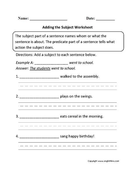 subject  predicate worksheets adding  subject