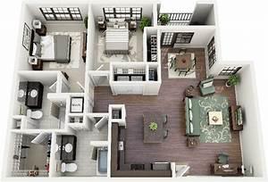 50 planos de apartamentos de dos dormitorios tikinti With plan maison 3d gratuit 7 maison plain pied 120m178 maisons ideales