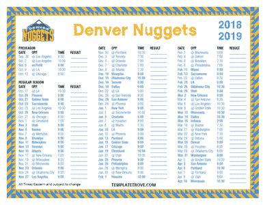 printable   denver nuggets schedule