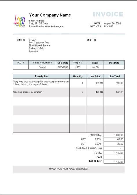 sample invoice template long product description