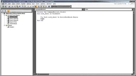 vba excel create a for loop for loop through all