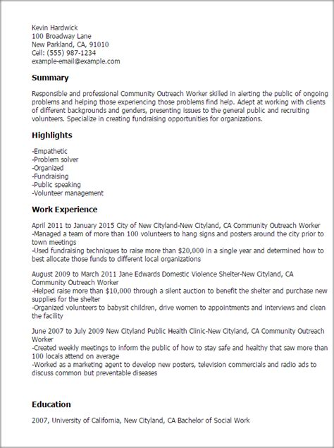 Animal Shelter Resume by Professional Community Outreach Worker Templates To